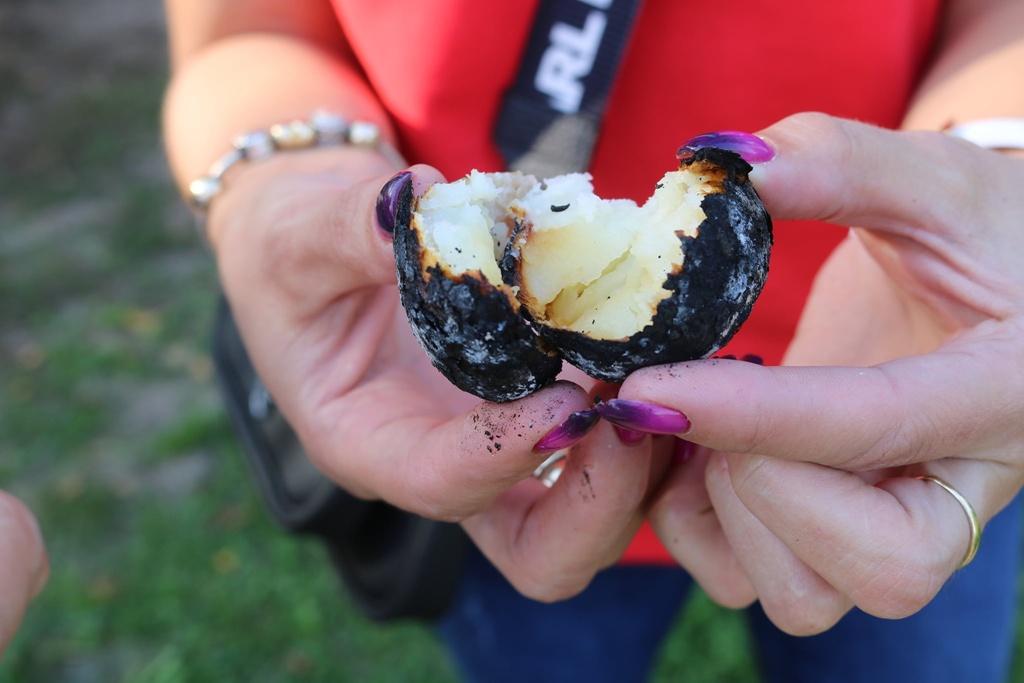 Zdjęcie przedstawia kobiece dłonie trzymające rozłamanego na pół, upieczonego ziemniaka z czarną skórką